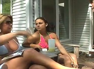 Bikini Daughter Lesbian  Mom Old and Young Outdoor Teen