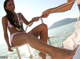 Girl enjoys foot fetish sex on boat
