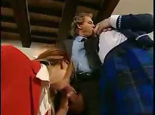 Blowjob Clothed Daddy European Italian Old and Young Student Teacher Threesome Vintage