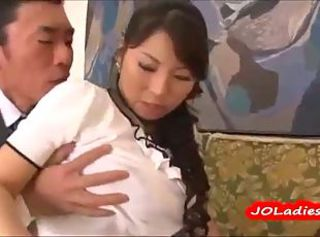 Busty Japanese secretary with big tits pleases her boss
