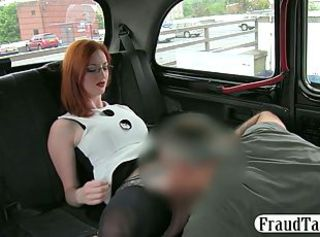 Redhead amateur with big tits tricked into sex by her taxi driver