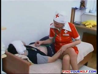 Latex Mature Nurse Old and Young Russian Uniform