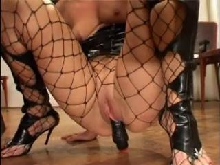 Fishnet Masturbating Mature Shaved Toy