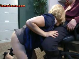Office slut in stockings gets sucked and blows a big cock Sex Tubes