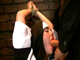 Erotic Nun Has Bound Up And Bumped Rough By 2 Persons