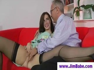 Young stockings brunette sucks older guy