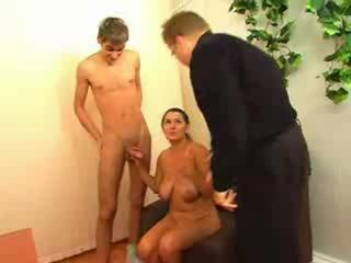 Russian Office Slut Fucked By Young Guy And Boss