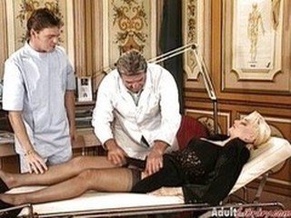 Blonde Doctor European German  Stockings Threesome