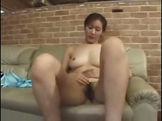 Asian Hairy Japanese Masturbating  Wife