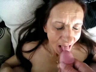 Cumming in mouth of slut granny. Amateur older