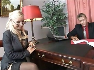 Amazing Blonde European Glasses  Office Secretary