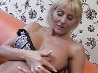awesome english older  lady masturbating with her