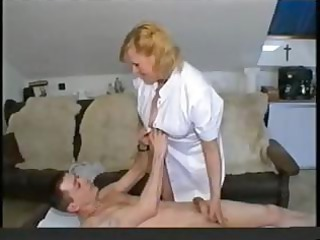 heavy bleached granny doctor gives her patient