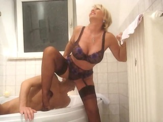 Bathroom Big Tits Blonde Lingerie Licking  Stockings