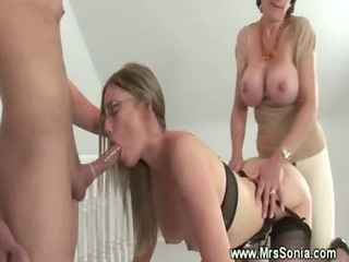 Big Tits Blowjob Glasses  Silicone Tits Stockings Threesome