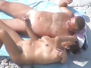 Beach Handjob Mature Nudist Older Outdoor Voyeur Wife
