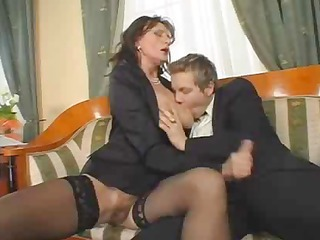 Clothed Handjob Mature Mom Old and Young Stockings