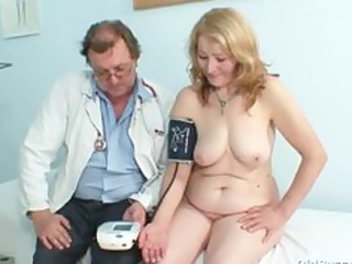 gyno nurse speculum examines hugely old experienced