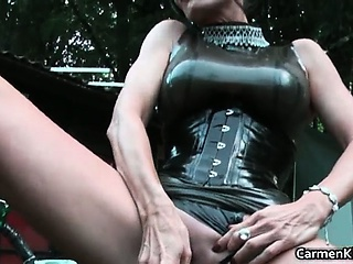 Latex Masturbating Mature Outdoor