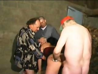 Naughty Latina chick takes multiple, young and old cocks, in the wood shed