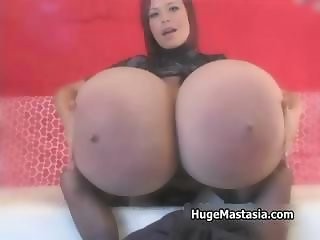 Hot babe with huge tits milks them part3