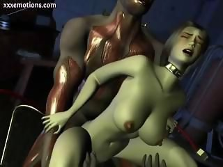 Busty 3D animated babe gets a big cock to eat and gets drilled
