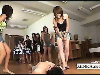 Bottomless Japan babes femdom with CFNM face sitting