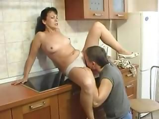 Kitchen Licking Mature Mom Old and Young