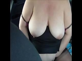 Fat bitch with huge tits masturbates passionately in her car