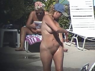 Nude at Pool - stripping,tan oiling, showering
