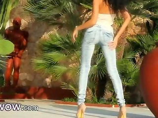 Ass Babe Jeans Legs Outdoor