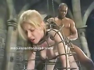 Firm large boobs show through ripped clothes of blonde slut bound and tortured in bondage sex