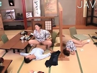 Asian Clothed Japanese  Riding Threesome