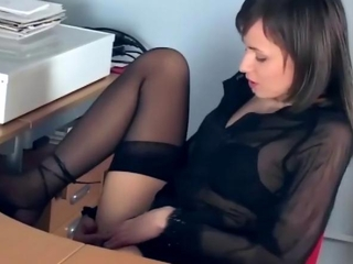 Office babe fingering in sheer stockings plus heels