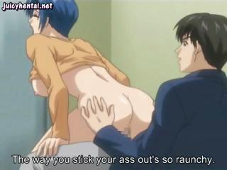 Blue-haired slutty hentai babe gets into some juicy sex scenes