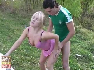 Young blonde chick slurps on big raging shaft