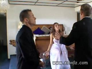 Newly Wed Girl Goes To Work On Her New Husband Giving Him And The Hotel Manager Blowjobs