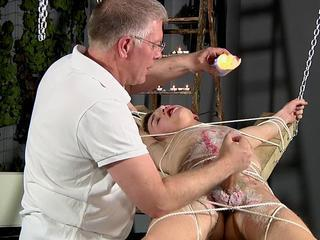 BDSM slave caitiff public schoolmate fated up, waxed and milked schwule jungs