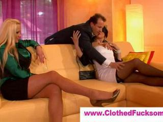 Amazing Clothed Legs  Stockings Threesome
