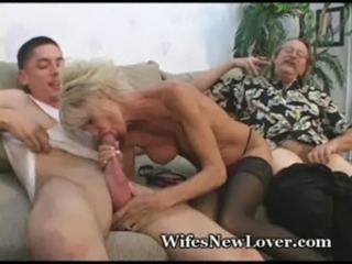 Blowjob Cuckold  Old and Young Stockings Wife