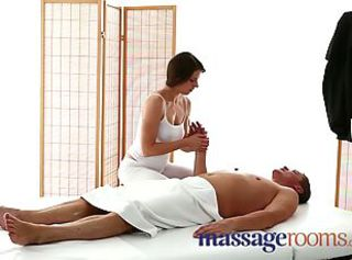 Massage Rooms Sexy masseuse girl with big boobs sucks