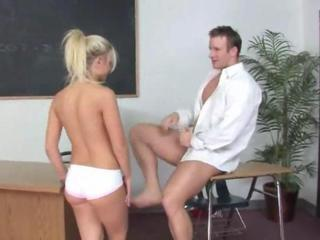 Blonde student penetrated by her teacher