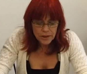 European French Glasses Mature Redhead