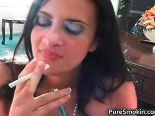 Hot sexy brunette babe sucks big dick