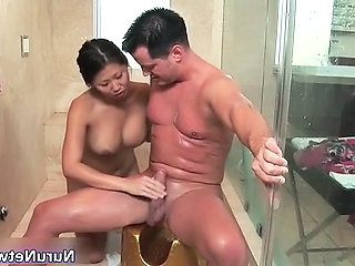 Nasty ground-breaking horny asian babe blows