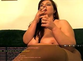 Mature Smokes 2 Cigarettes at Same Time in Tan Pantyhose