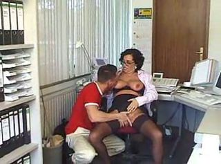 Glasses Mature Office Old and Young Secretary Stockings