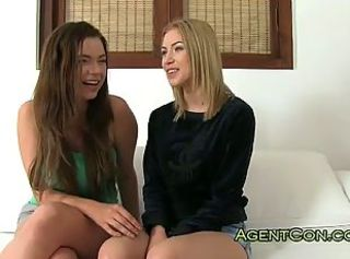 Two cute amateur teens in threesome on casting