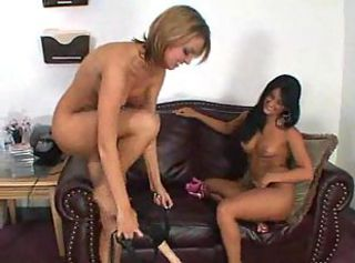 Lustful lesbian chicks have hot action with long strapon using.