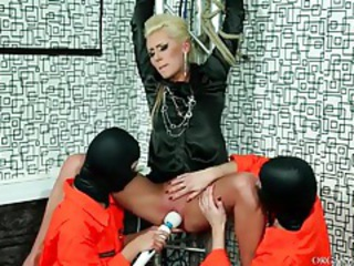 Blonde bound and pleasured by two girls tubes